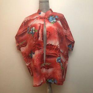 Vintage Pink Royal Hawaiian Hibiscus Kimono